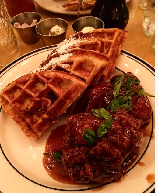 6) Sweet Chick's General Tso's Fried Chicken with Bacon Cheddar Waffle:
